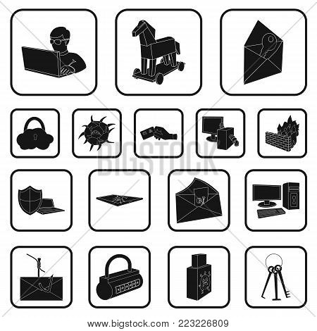Hacker and hacking black icons in set collection for design. Hacker and equipment vector symbol stock  illustration.