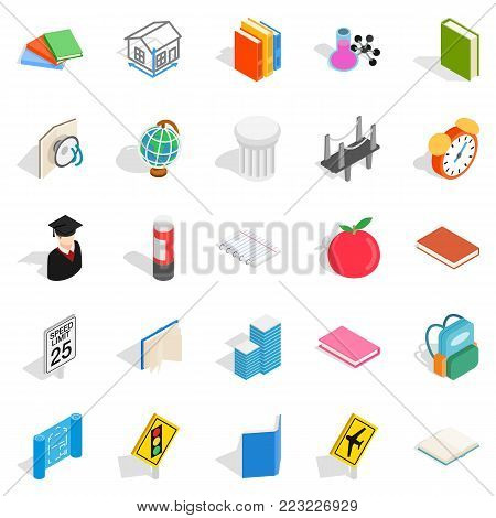 Scientific approach icons set. Isometric set of 25 scientific approach vector icons for web isolated on white background