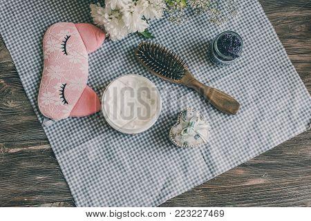 Natural Spa Set For Woman. Hair Care, Pampering. Sandalwood Comb, Cream, Sleeping Mask. Flat Lay Pho