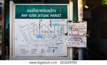 BANGKOK , Thailand - AUGUST 13 : View of map guide in Jatujak  market on August  13, 2017  in Bangkok, Thailand. JatuJak  Market is the largest market in Thailand.