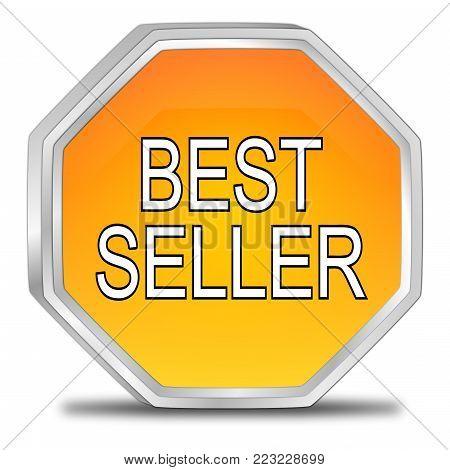 glossy orange Bestseller button - 3D illustration