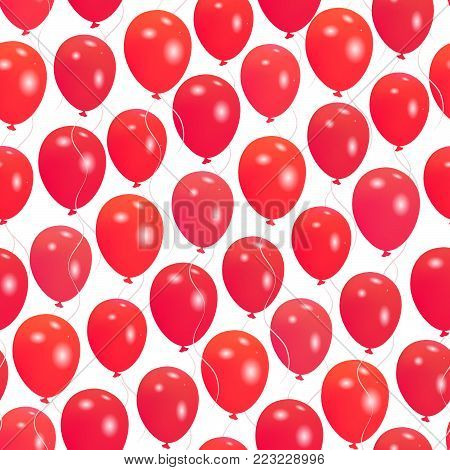 Seamless pattern with red helium balloons Happy Valentine's day design