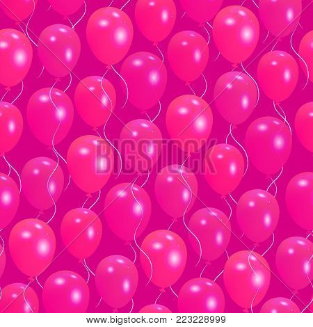 Seamless pattern with pink helium balloons Happy Valentine's day design