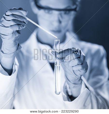 Life scientists researching in laboratory. Focused female science professional pipetting solution into glass cuvette. Lens focus on pipette. Healthcare and biotechnology. Greyscale blue toned image.