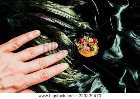 Haircare Concept. Natural Sandalwood Comb Closeup On Wood Background