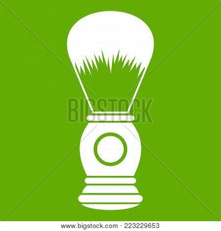 Shaving brush icon white isolated on green background. Vector illustration