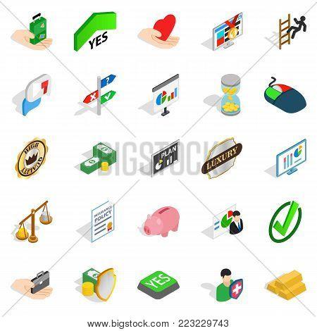 Edge icons set. Isometric set of 25 edge vector icons for web isolated on white background