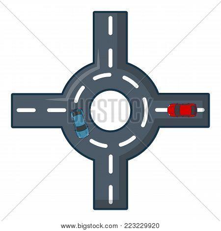 Circular intersection icon. Cartoon illustration of circular intersection vector icon for web.