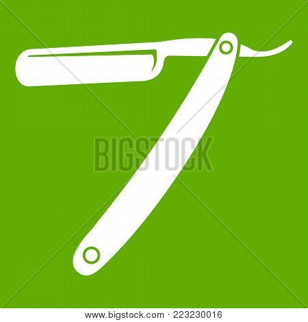 Razor blade icon white isolated on green background. Vector illustration