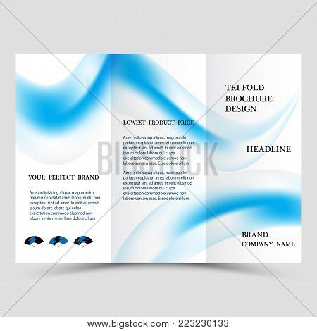 Business tri fold brochure design. Blue corporate business template for tri fold flyer. Layout with modern shaped photo and abstract background. Creative concept folded flyer or brochure.