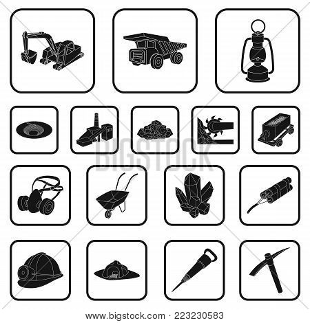 Mining industry black icons in set collection for design. Equipment and tools vector symbol stock  illustration.