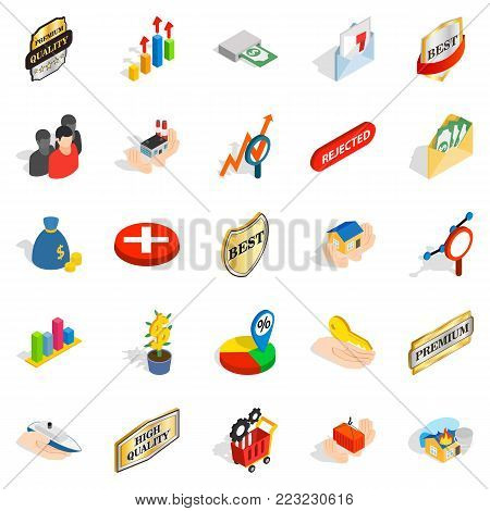 Control icons set. Isometric set of 25 control vector icons for web isolated on white background
