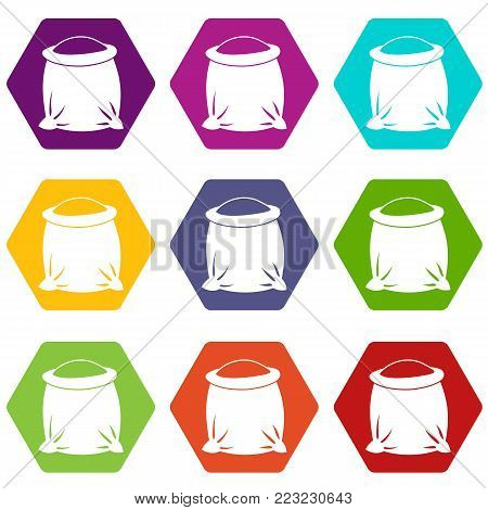 Sack full of flour icon set many color hexahedron isolated on white vector illustration
