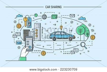 Hand holding smartphone and automobile on city street. Concept of car sharing and rental electronic service or carsharing mobile application. Colorful vector illustration in modern line art style