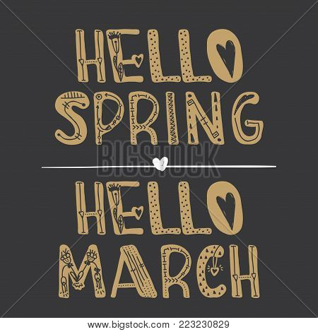 Hello Spring, Hello March. Text, Banner, Poster, Flyer Design For Promotions Vector Illustration