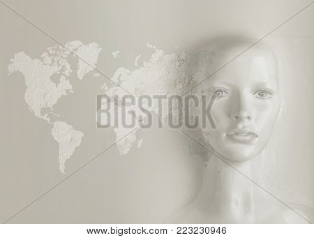3d illustration of robotic human head with graphic elements representing a medical or travel concept