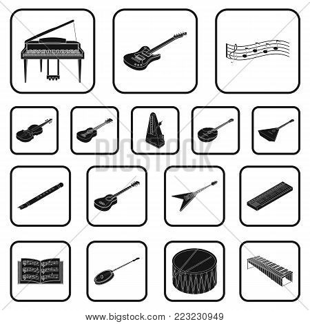 Musical instrument black icons in set collection for design. String and Wind instrument isometric vector symbol stock illustration.