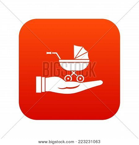 Baby pram protection icon digital red for any design isolated on white vector illustration