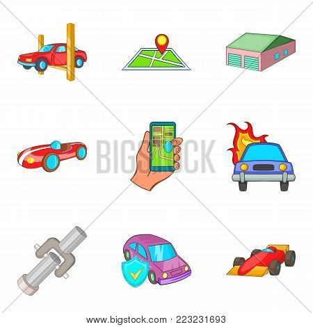 Indoor parking icons set. Cartoon set of 9 indoor parking vector icons for web isolated on white background