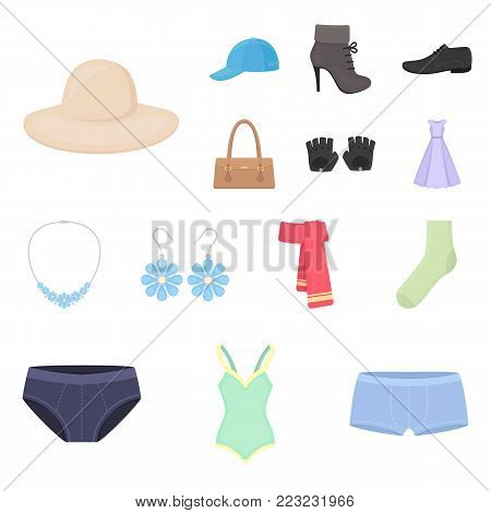 Clothes and accessories cartoon icons in set collection for design. Shoes and decoration vector symbol stock web illustration.