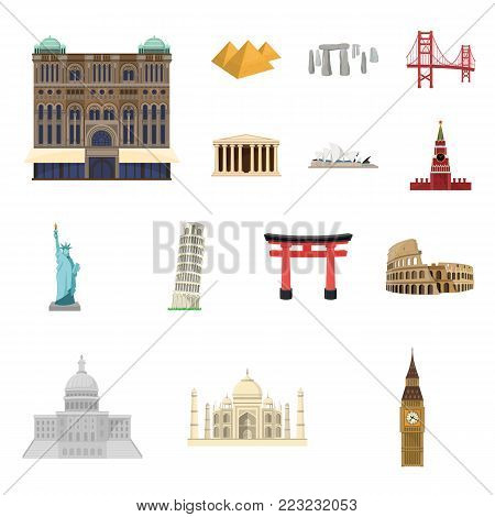 Sights of different countries cartoon icons in set collection for design. Famous building vector symbol stock  illustration.