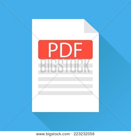 PDF file, a pdf file icon. White sheet with a folded edge. Flat design, vector illustration, vector.