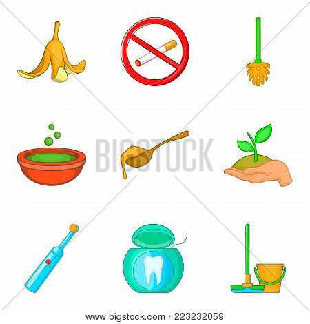 Garbage recycling icons set. Cartoon set of 9 garbage recycling vector icons for web isolated on white background
