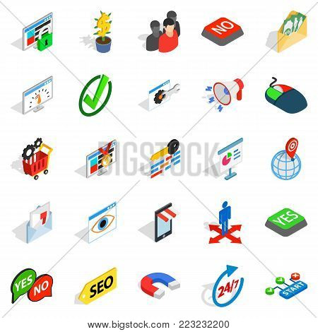 Truck icons set. Isometric set of 25 truck vector icons for web isolated on white background