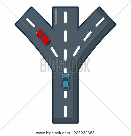 Road fork icon. Cartoon illustration of road fork vector icon for web.