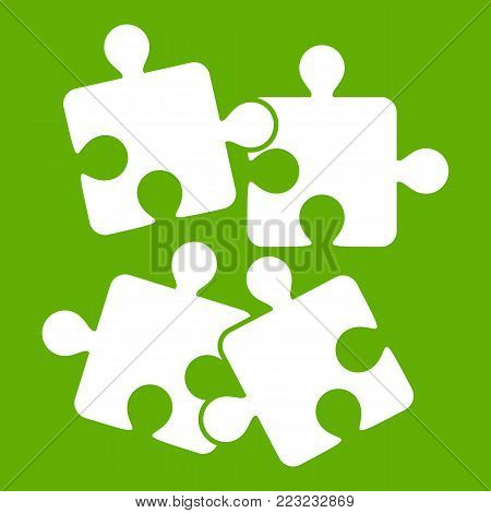Jigsaw puzzles icon white isolated on green background. Vector illustration