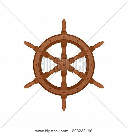 Steering wooden wheel for ship. Control of vessel, boat. Sea voyage on water, swimming on sea. Onboard element of ship, boat, cargo water transport. Sea travel elements. Vector illustration.