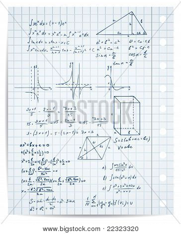 Math And Geometry On Copybook Page
