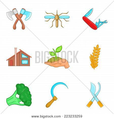 Truck farming icons set. Cartoon set of 9 truck farming vector icons for web isolated on white background