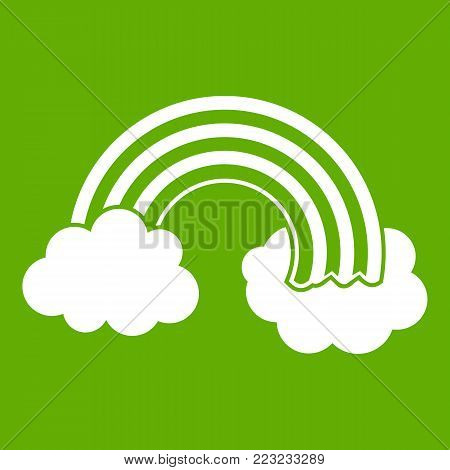 Rainbow LGBT icon white isolated on green background. Vector illustration