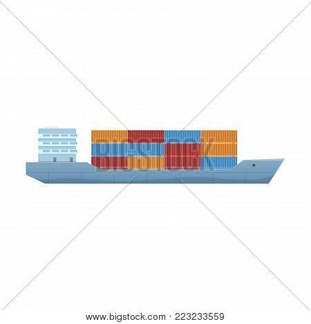 Commercial and passenger cargo ship, container vessel, with cargo on board. Freight transportation and logistic, shipping, nautical vessel. Sea travel elements. Marine object. Vector illustration.