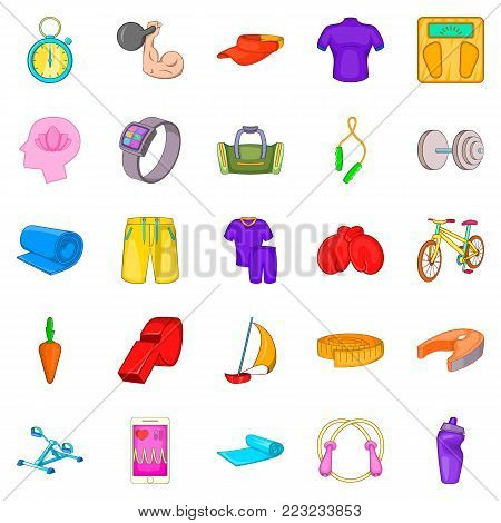 Practice icons set. Cartoon set of 25 practice vector icons for web isolated on white background