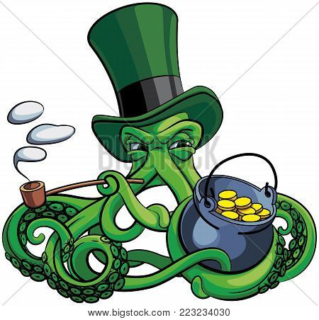 Vector colourful illustration of octopus the suspicious leprechaun in top hat with pot of money and tobacco pipe in his tentacles, isolated on white background. File doesn't contains gradients, blends, transparency and strokes or other special visual effe