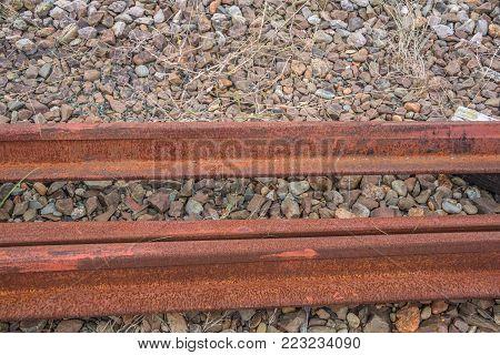 Stack of a rail steel rusty rail