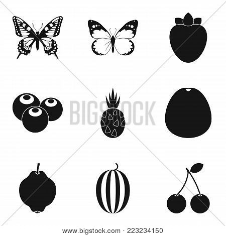 Piece of the crop icons set. Simple set of 9 piece of the crop vector icons for web isolated on white background
