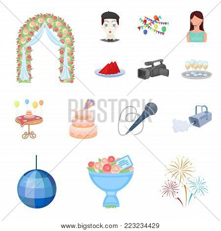Event Organisation cartoon icons in set collection for design.Celebration and Attributes vector symbol stock  illustration.