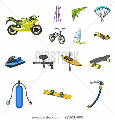 Extreme sport cartoon icons in set collection for design.Different kinds of sports vector symbol stock  illustration.