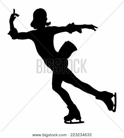 dancing woman skater in ice figure skating
