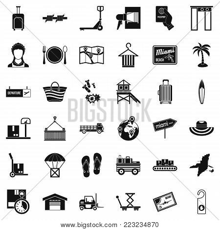 Luggage icons set. Simple set of 36 luggage vector icons for web isolated on white background