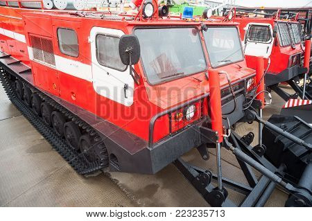 Nizhniy Tagil, Russia - September 25. 2013: Direct fire suppression vehicle MPT-521. Display of opportunities of equipment. Russia Arms Expo-2013 exhibition