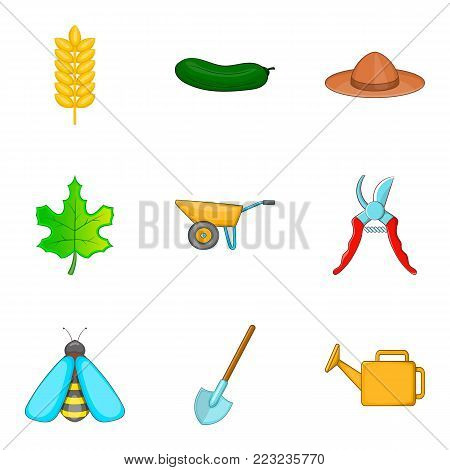 Garden work icons set. Cartoon set of 9 garden work vector icons for web isolated on white background
