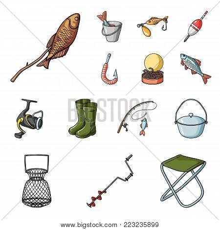 Fishing and rest cartoon icons in set collection for design. Tackle for fishing vector symbol stock  illustration.