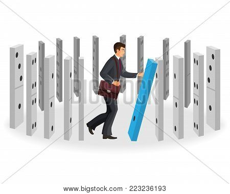 Domino effect visualization with businessman in classic suit with leather briefcase that drops figures that stand in circle isolated vector illustration.