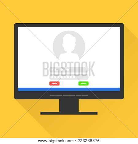 Sign in page on computer screen. Login and password from the mailbox on the monitor screen. The concept of entering the mailbox. Flat design, vector illustration, vector.