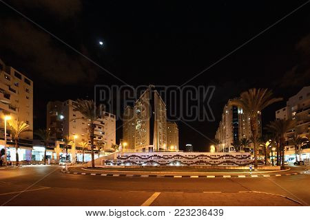 Ashdod/ Israel - Mar 03,2017: Ilan Ramon Square in Ashdod City at Shabbath midnight