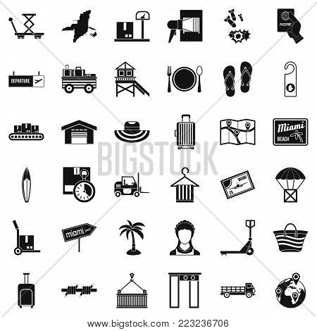 Transmission icons set. Simple set of 36 transmission vector icons for web isolated on white background